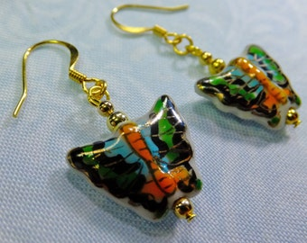 Hand Painted Multicolored Ceramic Butterfly Dangle Earrings Light Weight