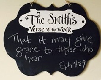 Personalized Verse of the Week Chalkboard - Large Keaton Scroll Black vertical