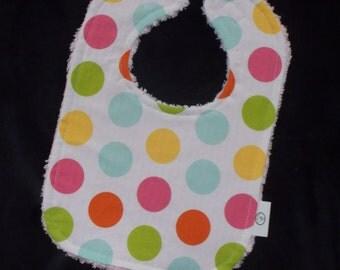 Pastel Polka Dots and Chenille Bib
