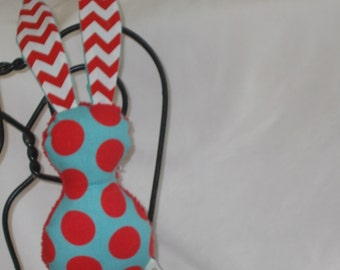 Red and Aqua Polka Dot Bits The Bunny Plush Rattle