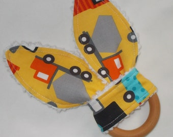Yellow Ready, Set, Go Cars Rabbit Ears Wooden Teething Ring