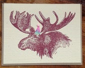 moose party birthday letterpress card blank recycled paper hand printed