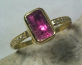 Tourmaline and  22 kt   gold Ring,  engagement ring, Solitaire Ring,  solid 22 kt gold and pink tourmaline ring