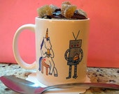Unicorn and robot mug