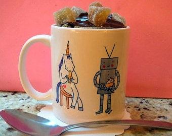 Unicorn and robot mug