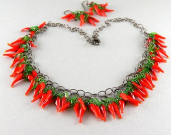 Red Hot Chili Pepper Necklace Necklace and Earring Set with Free USA Shipping