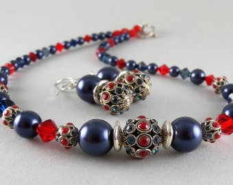 Vogue Silver Red and Blue Rhinestone Jewel with Navy Blue Swarovski Pearl Necklace and Earring Set with Free USA Shipping