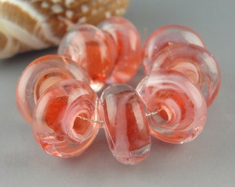 Peach Blush, 8 Handmade Lampwork Glass Beads, lampwork bead set, jewelry supplies, lampwork spacer bead, artist lampwork