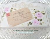 Graphic French Post Card Wood Box, Hand Painted Pink Cottage Roses, Shabby Keepsake, Storage, Gift, Embellished, ECS