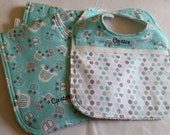 CUSTOM SET Baby bib/set of 2 burp cloths with Baby's name