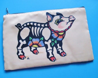 Day of the Dead PIG Purse Cosmetic Bag Makeup Case Pouch