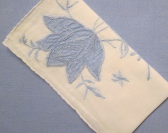 Vintage Appliqued Hanky/ Handkerchief - Blue and White - Something Blue