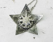 Old Punched Metal Star Reflector Christmas Ornament w/ Vintage Rhinestones Package Add On