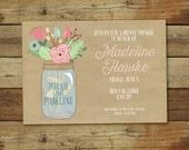 Kraft Mason Jar Shower Invitation - Bridal / Wedding Shower Invitation - Mason jar and flowers Shower Invite