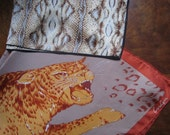 2 Cheetah Python Snake Wild Animal  Vintage 1970s 70s 1980s 80s Scarves Silk Square CarLyn Earth Tones