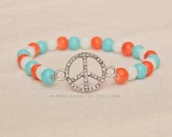Peace sign bracelet, boho chic bracelet, gift for teen girl, hippie jewelry, peace sign bracelet, peace symbol, stretch bracelet, stackable