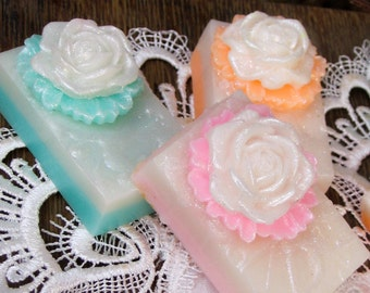 Rose Soap Favors, Soap Bar, Rose Soap, Soap Favors, Shower Favors, Wedding Favors, Birthday Party, Tea Party, Shea Butter Soap, Handmade