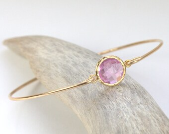 June Birthstone Light Amethyst Quartz and Gold Filled Bangle, Gold Bracelet, Light Amethyst Bangle Bracelet, Gold Bracelet #[794]