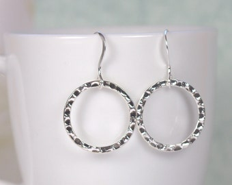 Silver Circle Earrings, Hammered Silver Earrings, Silver Hoop Earrings, Silver Dangle Earrings, Lightweight Silver Earrings, #119