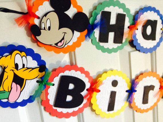 Disney Banner: Happy Birthday Banner; Disney Theme Party; Disney ...