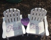 The ORIGINAL Set of 2 Cake Topper Wedding Decor Mini Adirondack Chair  with hearts Beach Lake Rustic  Personalized  Any Color