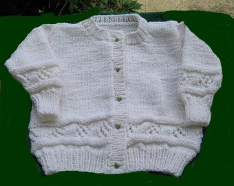 Hand Knit Child Cardigan in White