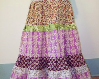 Long Gathered Tiers Skirt in Purples Lavender Hippie Boho Maxi