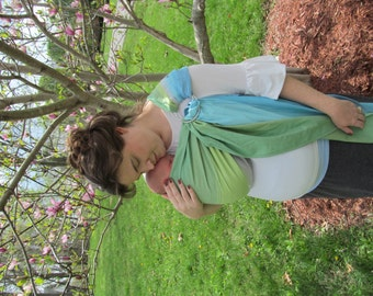 Wrap Conversion ring sling baby carrier - WCRS - year round sling, baby sling, woven ring sling, DVD included - Little Frog Stony Opal