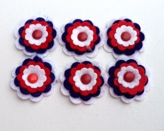 Felt Flowers Red White Blue with Red Round Metal Brad, Set of Six, Card Making Embellishments, Scrapbook Supply, Hair Bow Supply