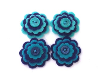 Felt Flowers, Navy Blue and Teal Blue, Embellishments for Scrapbooking, Card making, Hair Accessories
