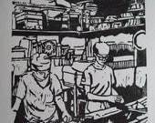 The Bakers - original woodblock print