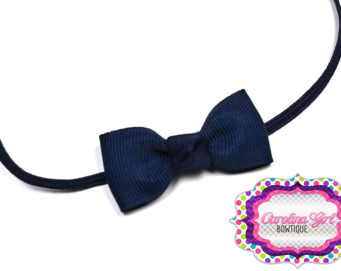 Navy Blue Newborn Headband - Small Headband withTiny Bow on Skinny Elastic - Girls Hair Bows
