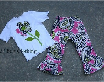 Custom Boutique Jumbo Dot Lime Pink Paisly Fall Flower Tee and Pant