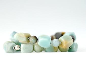 Amazonite Bracelets, Stone Jewelry, Chunky Bead Bracelets, Set of 2, Stretch Bracelets, Beachy Jewelry, Stacking Bracelet, Statement Jewelry