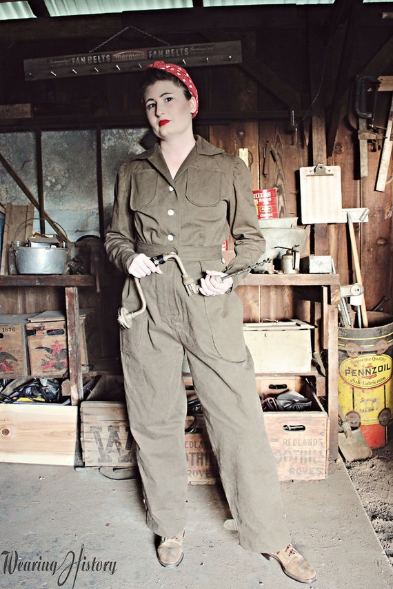 Rosie the Riveter Costume & Outfit Ideas 1940s WWII 1940s Air Raid Suit or Coverall- PDF Sewing Pattern $12.00 AT vintagedancer.com