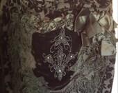 Bohemian Black Velvet Flea Market Art Bag