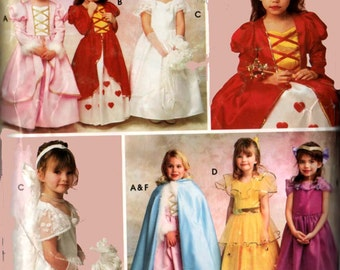 Princess Fairy Bridal Gowns Dress Veil & Cape Girls Costume Simplicity 0633 Childrens Costume Sewing Pattern Size 2-8 UNCUT