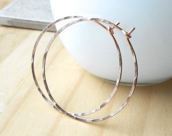 Rose Gold Hoop Earrings 1.5 inch Hammered Rose Gold Filled Hoops