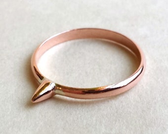Sting Ring - Copper - Tiny - Pink Spiked Ring - Custom - Modern Minimalist - Stackable - Gifts Under 20 - Bee Sting Ring - Made In Brooklyn
