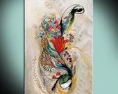 Printed copy Splash of Life Birds and Flowers Print Art poster White background interior design Dorm decor Gift poster Israeli Wall Art