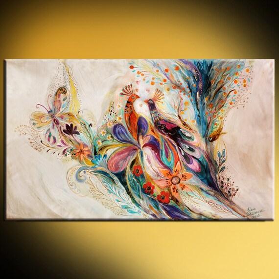 Astratto oriental stampa su tela colori gialli blu rosso for Stampe astratte su tela