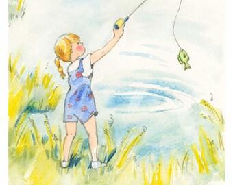Little Girl Fishing - Watercolor Wall Art Print
