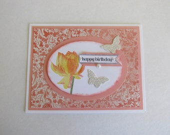 Happy Birthday Hand Made Greeting Card Lotus  Blossom Silver Glitter Paper Butterflies Shades Of Yellow and Coral