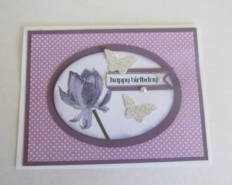 Happy Birthday  Hand Made Greeting Card Purple Lotus Blossom Silver Glitter Paper Butterflies Pearl Accents