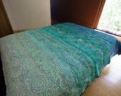 Modern Quilt Queen Size Art Quilt Minimalist Turquoise Ocean Quilt Contemporary Handmade Modern Quilt Queen Bedding Sea Quilts Fiber Art Bed