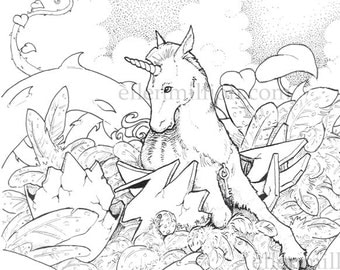 Unicorn Hatchling Digi Stamp Digital Coloring Page for adults - for scrapbooking or cards or coloring