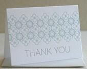 Thank You Card Set, Blue & Gray, Stars Clovers Pattern, Letterpress