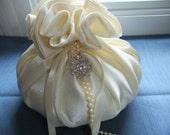 Rosette Ring Bearer Pillow - Large Decorative Sachet Ringbearer Wedding - Ivory