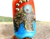 Santa Fe Silvered Ivory Organic Focal betsybeads Lampwork Bead Handmade Glass Bead SRA 56386