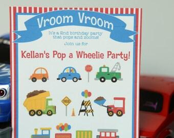 Transportation Birthday Invitation - printable party digital invite - 5x7